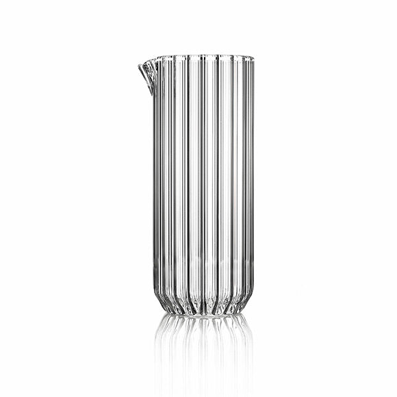 Contemporary fluted glass carafe by designer Felicia Ferrone.