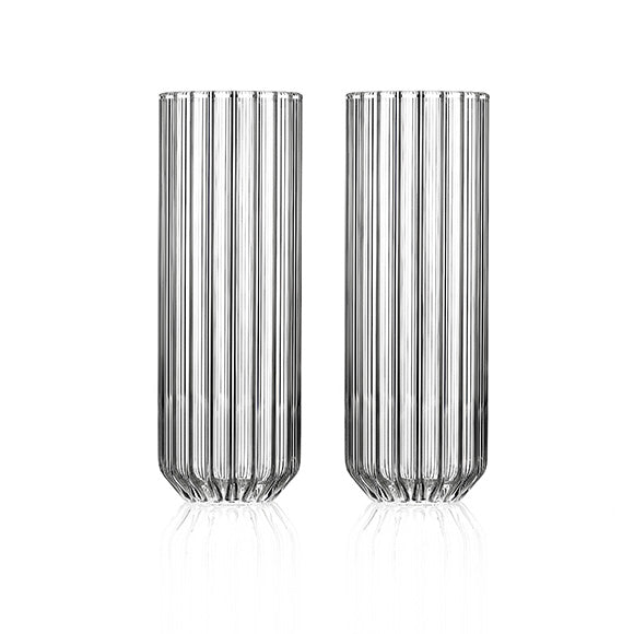 Set of two modern designer tall glasses in fluted glass by Felicia Ferrone.