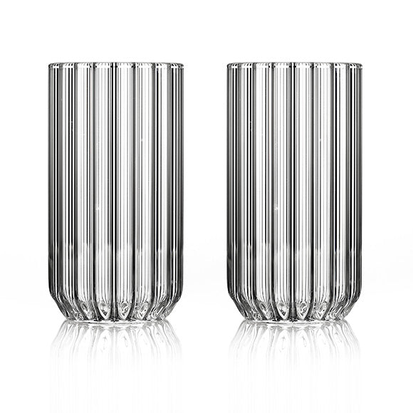 Set of two designer large, fluted glasses by designer, Felicia Ferrone.