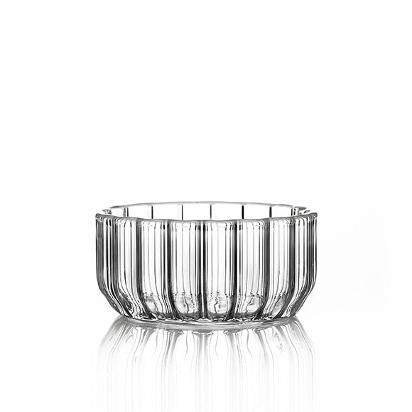 Designer glass bowl in fluted glass by Felicia Ferrone.