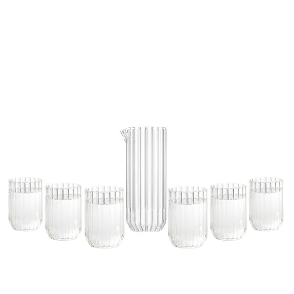 Modern designer glassware set with fluted carafe and six fluted glasses by Felicia Ferrone