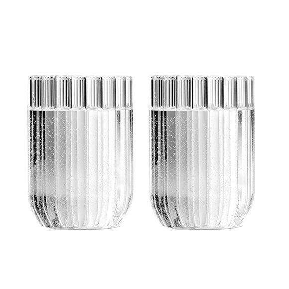 Set of designer glasses in fluted glasses by Felicia Ferrone.
