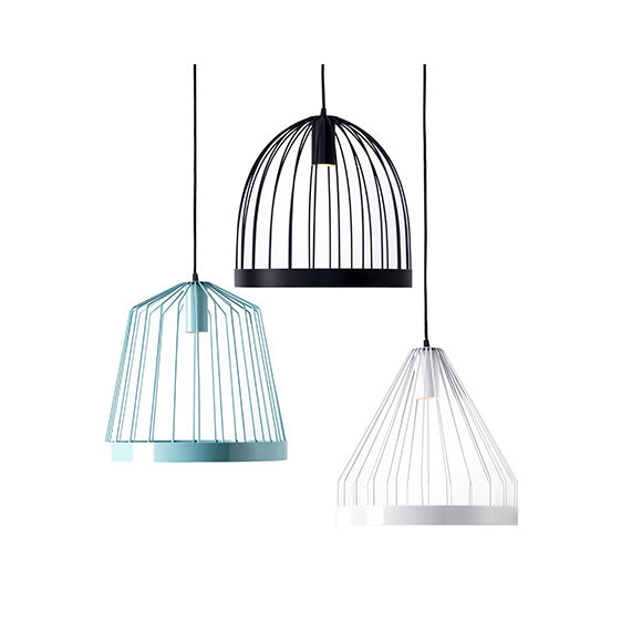Three hanging lamps in black, turquoise that resemble bird cages.