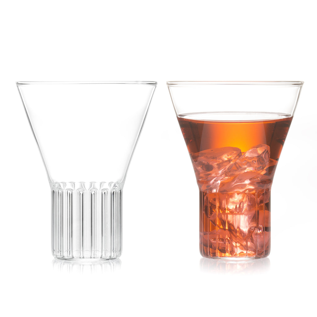 Designer clear glass by Felicia Ferrone with fluted base and clear goblet.