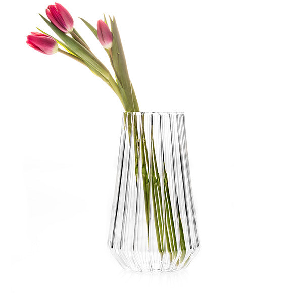 Fluted glass flower vase by awarded designer, Felicia Ferrone.