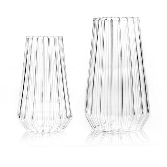 Fluted glass flower vases by awarded designer, Felicia Ferrone.