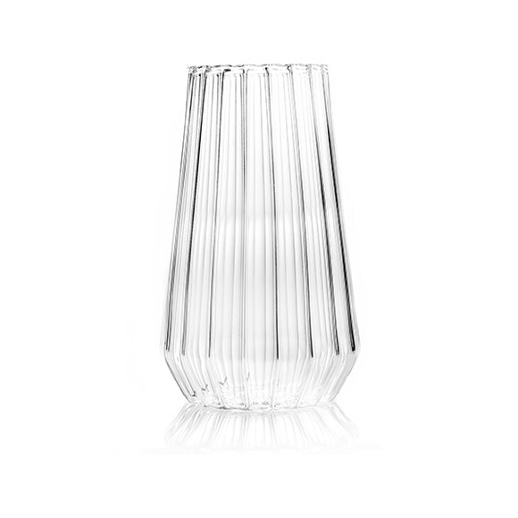 Fluted glass flower vase by designer Felicia Ferrone.