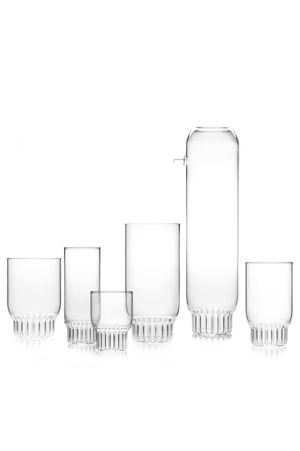 The entire clear Rasori Collection of tableware by designer, Felicia Ferrone.