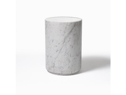 White and grey marble side table made in Italy.