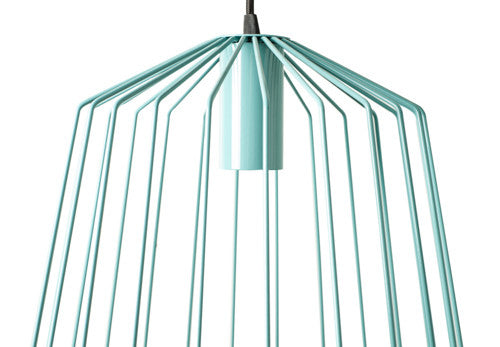 Close up of the bird cage lamp in turquoise.