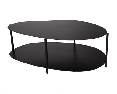 Two tiered black metal table inspired by river stones.