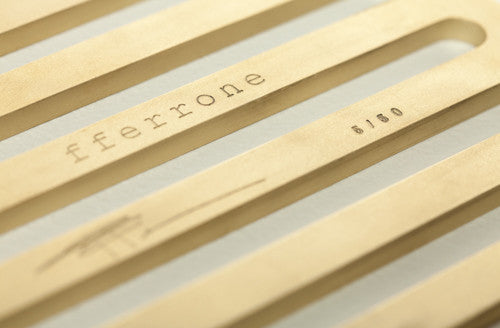 Close up of the limited edition brass trivet by fferrone.