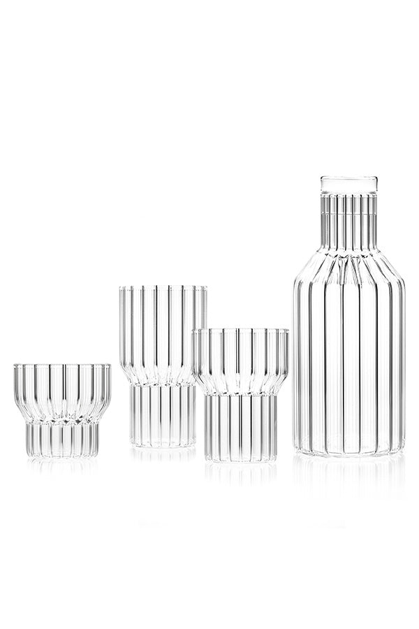 An image of the fluted glassware in the empty and clear Boyd Collection, created by designer Felicia Ferrone.