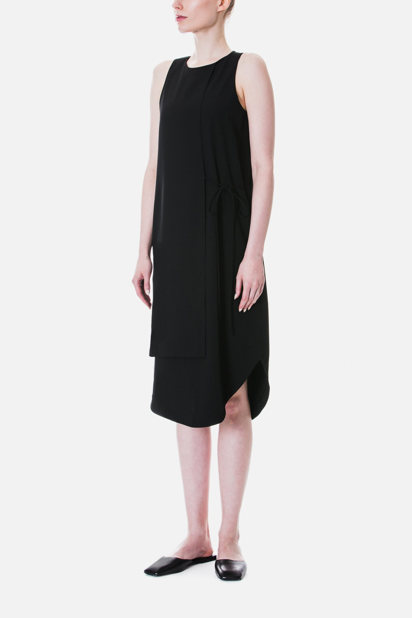 Overlap Shift Dress With Tie Detail