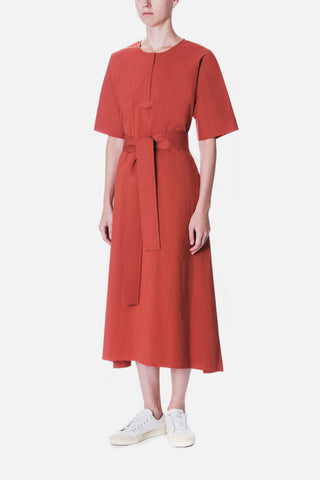 BELTED HALF PLACKET MIDI DRESS