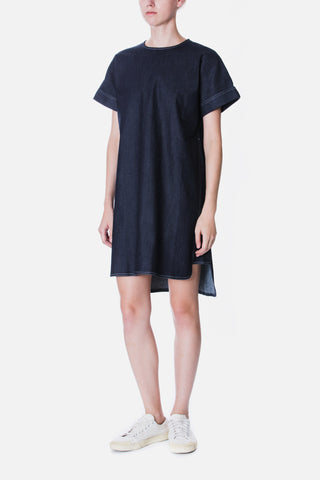 CHAMBRAY PANELLED SHIFT DRESS