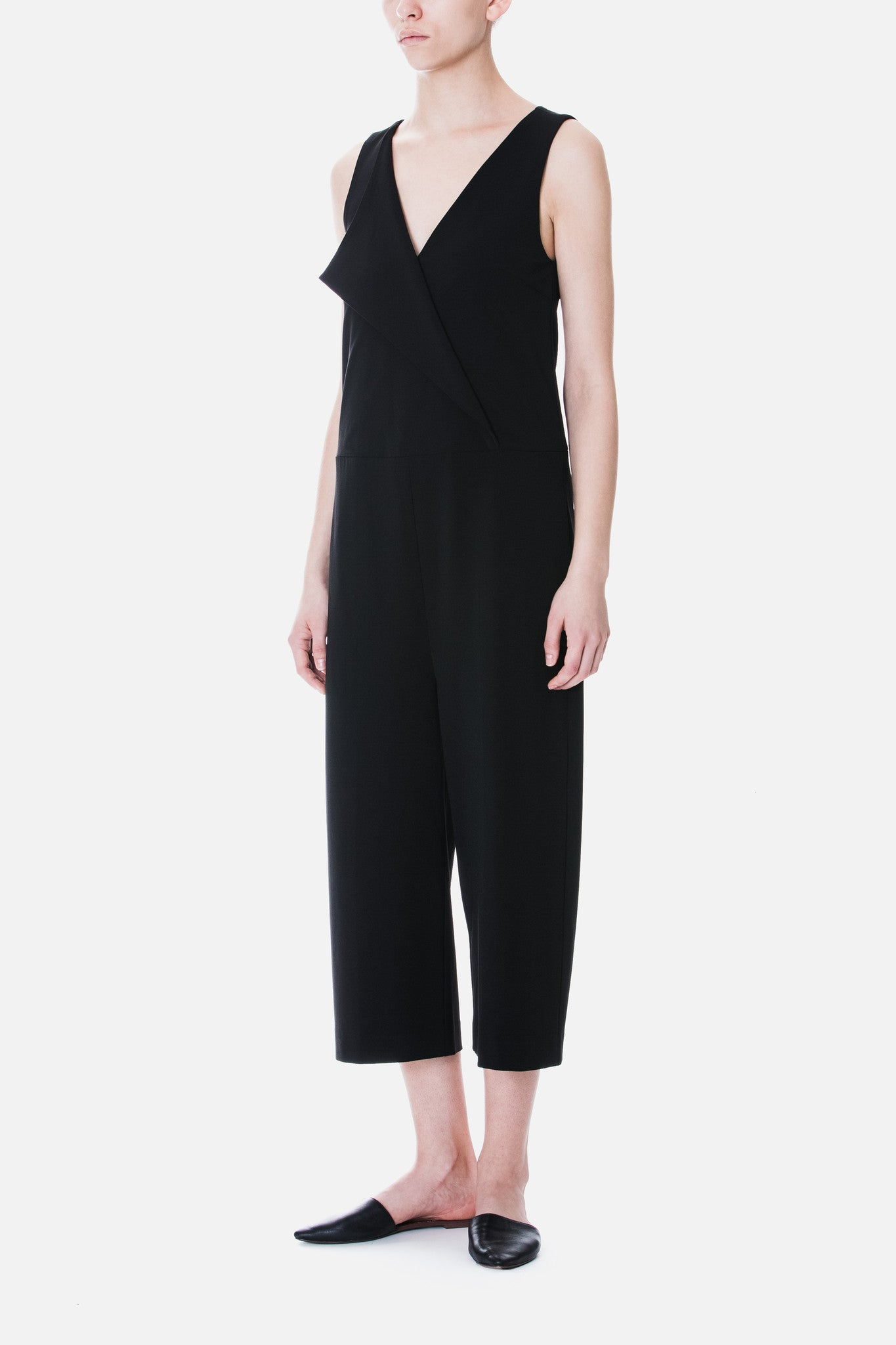 Lapel Detail Crepe Jumpsuit