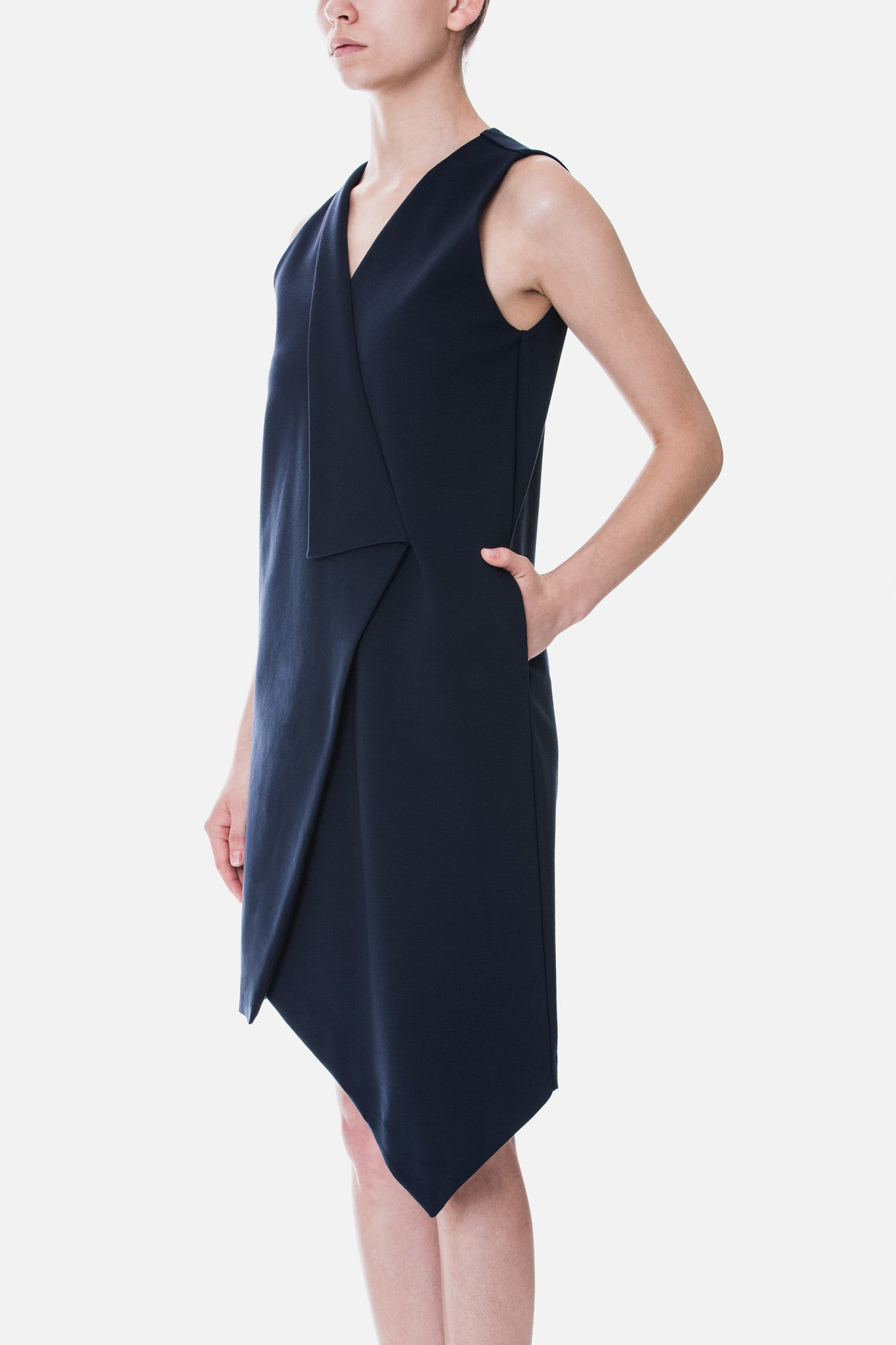 Asymmetrical Lapel Knit Dress
