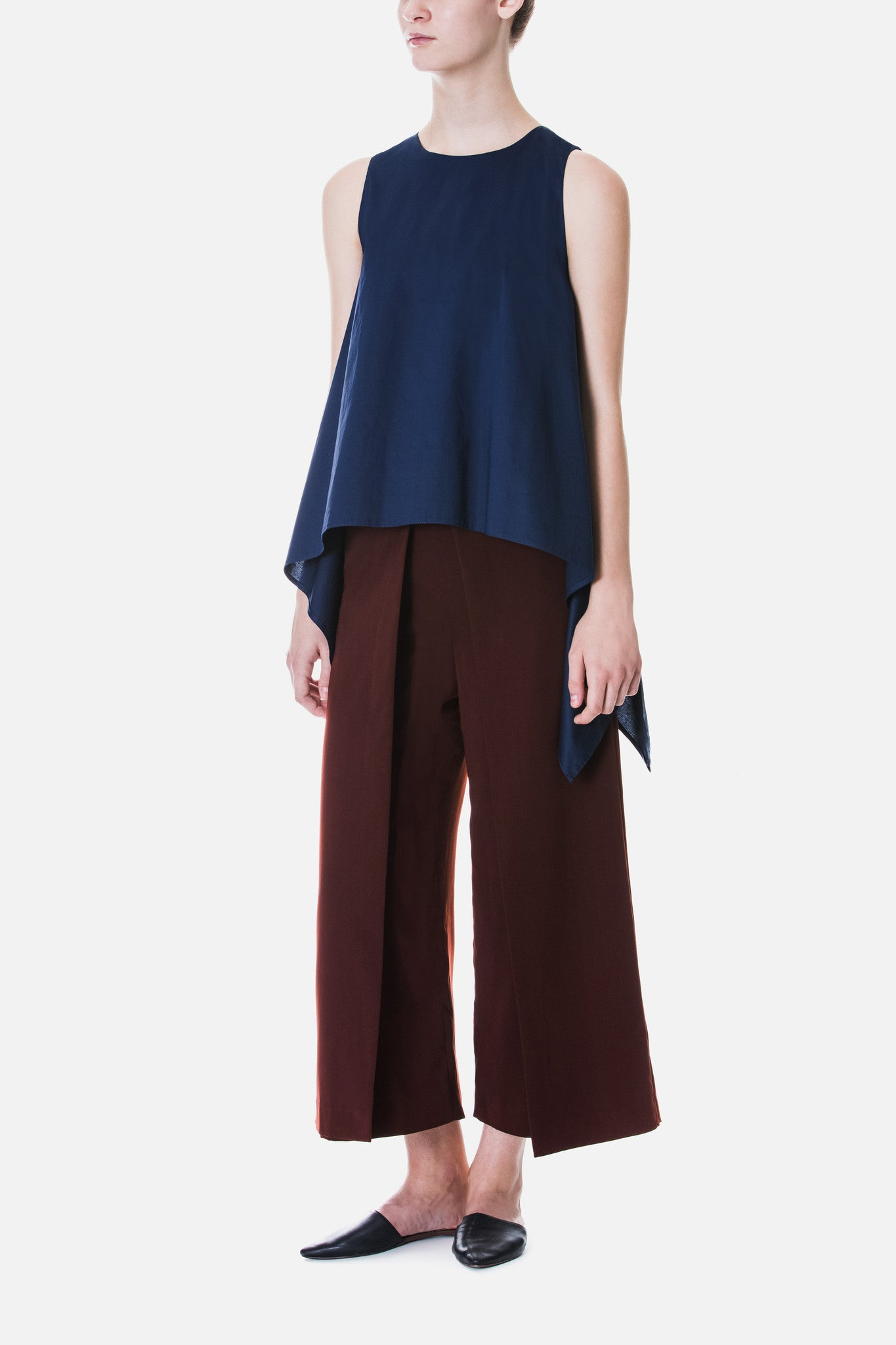 Draped Poplin Sleeveless Top