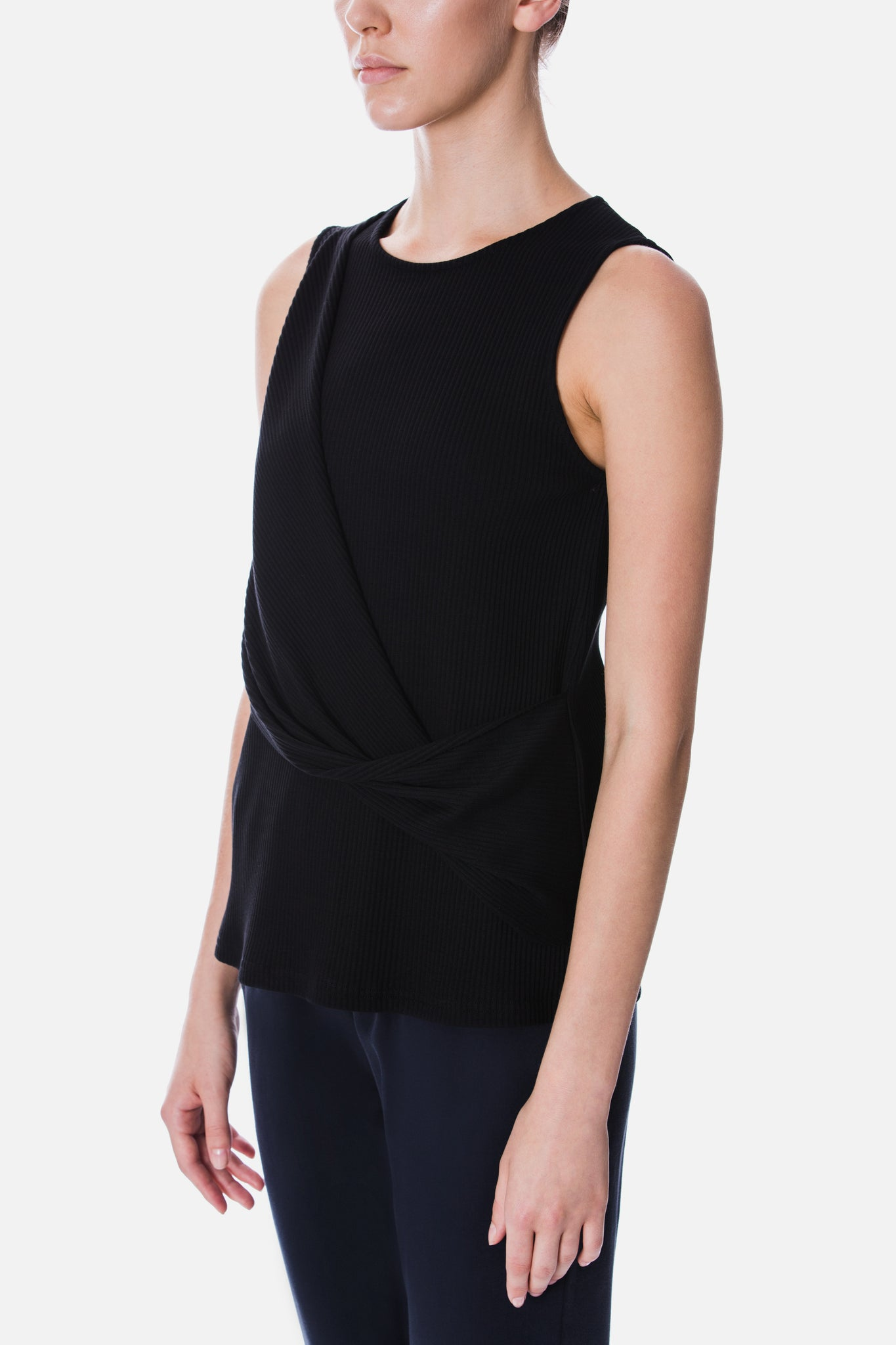 ASYMMETRIC PANEL KNIT TOP