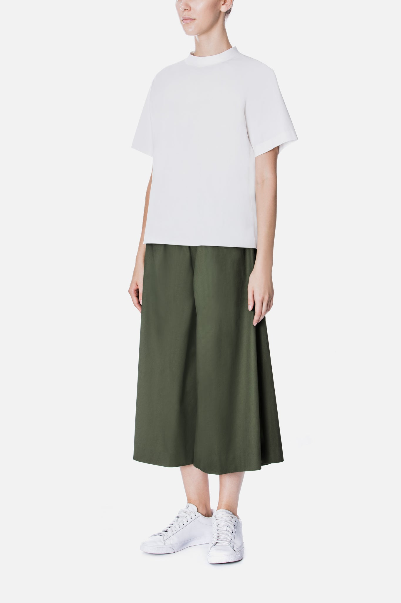 GATHERED POPLIN CULOTTES