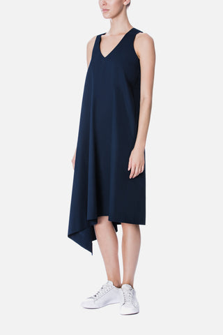 SIDE DRAPE V NECK DRESS