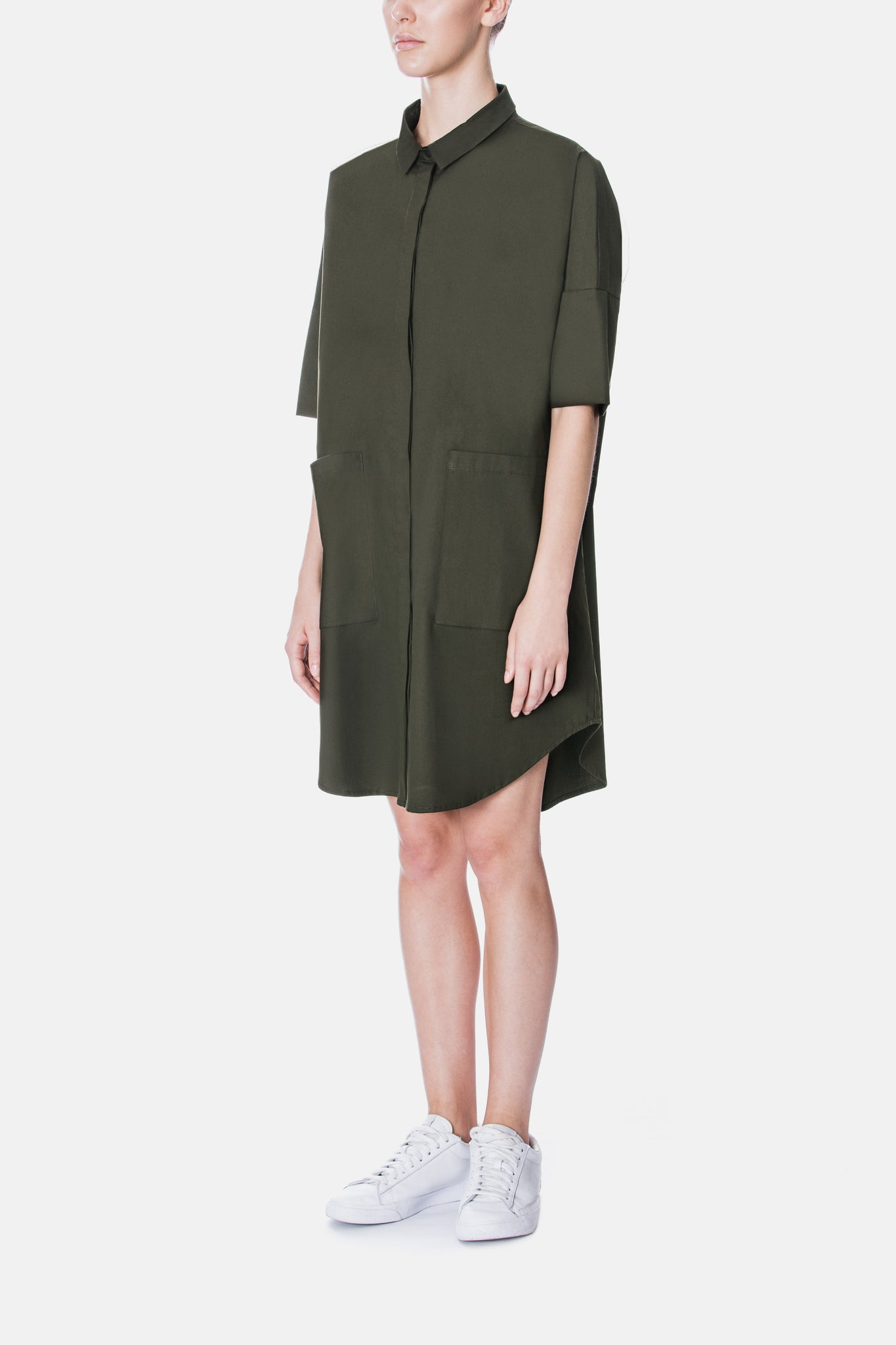 BOXY POPLIN SHIRT DRESS