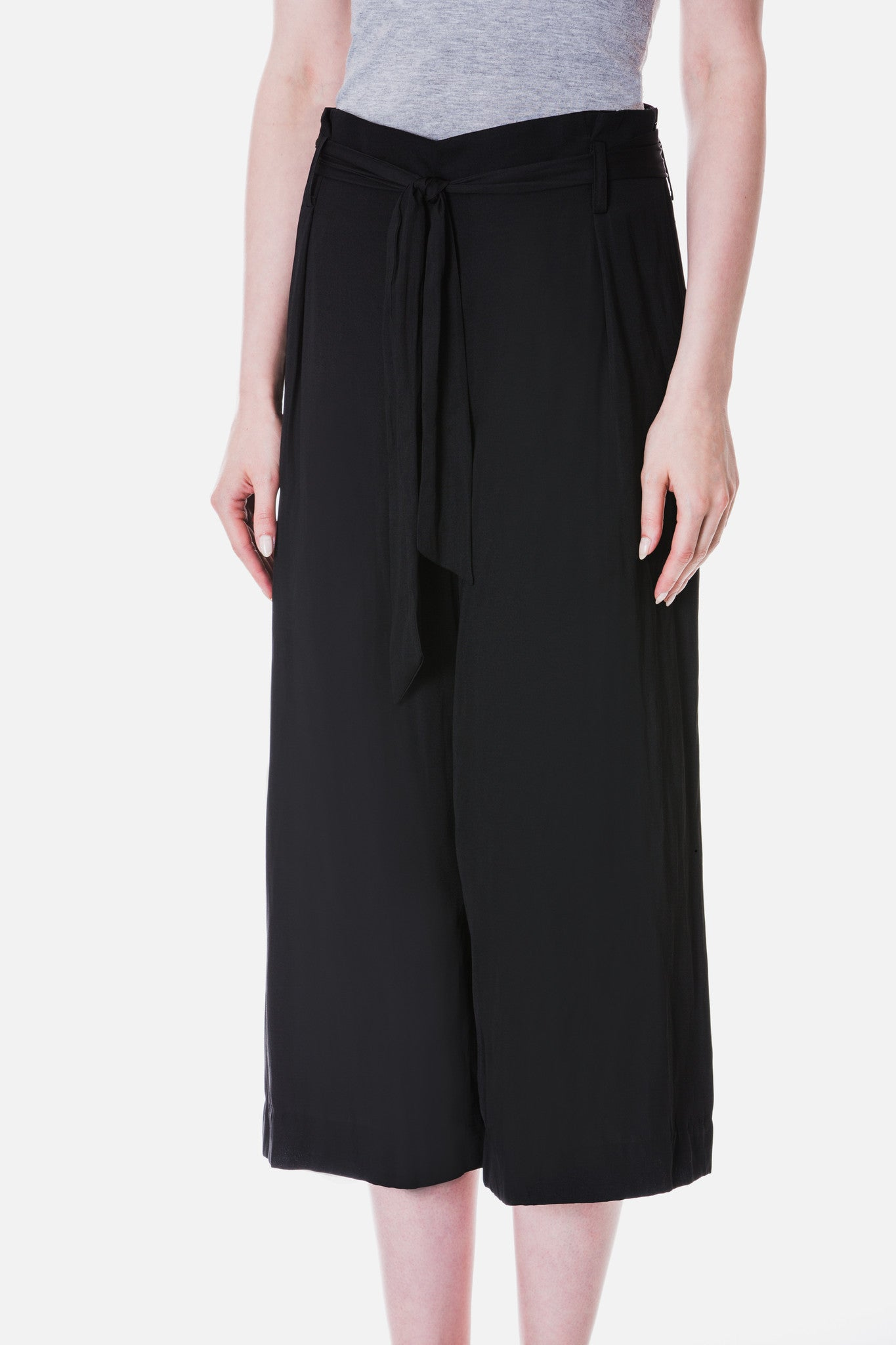 Belted Satin Culottes