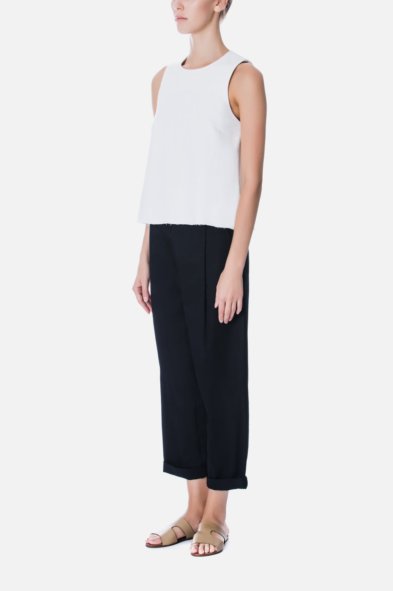 SLEEVELESS TOP WITH RAW EDGES