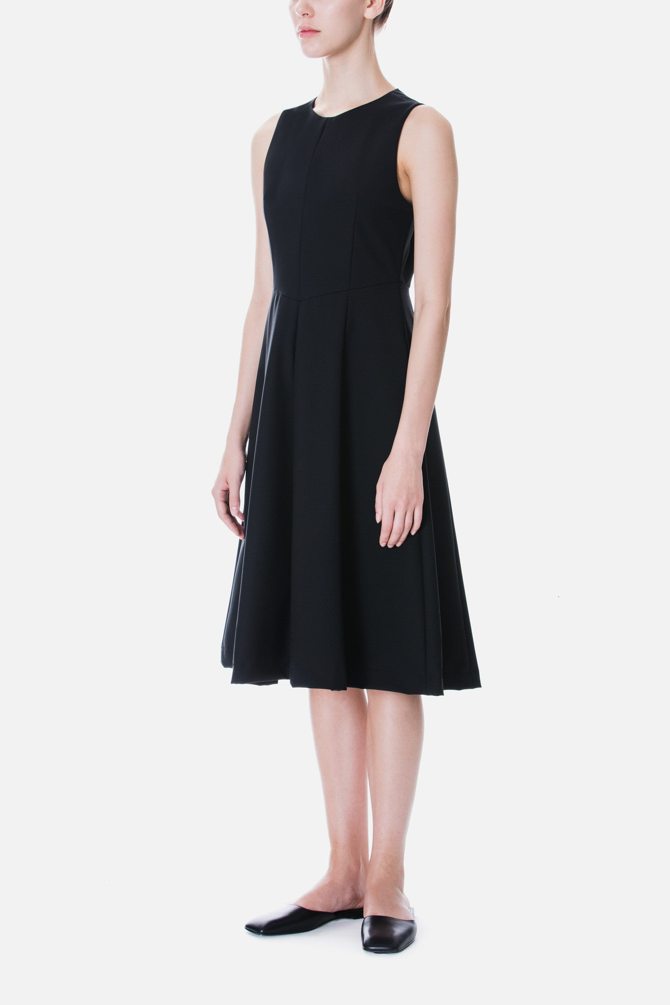 PANELLED CREPE MIDI DRESS