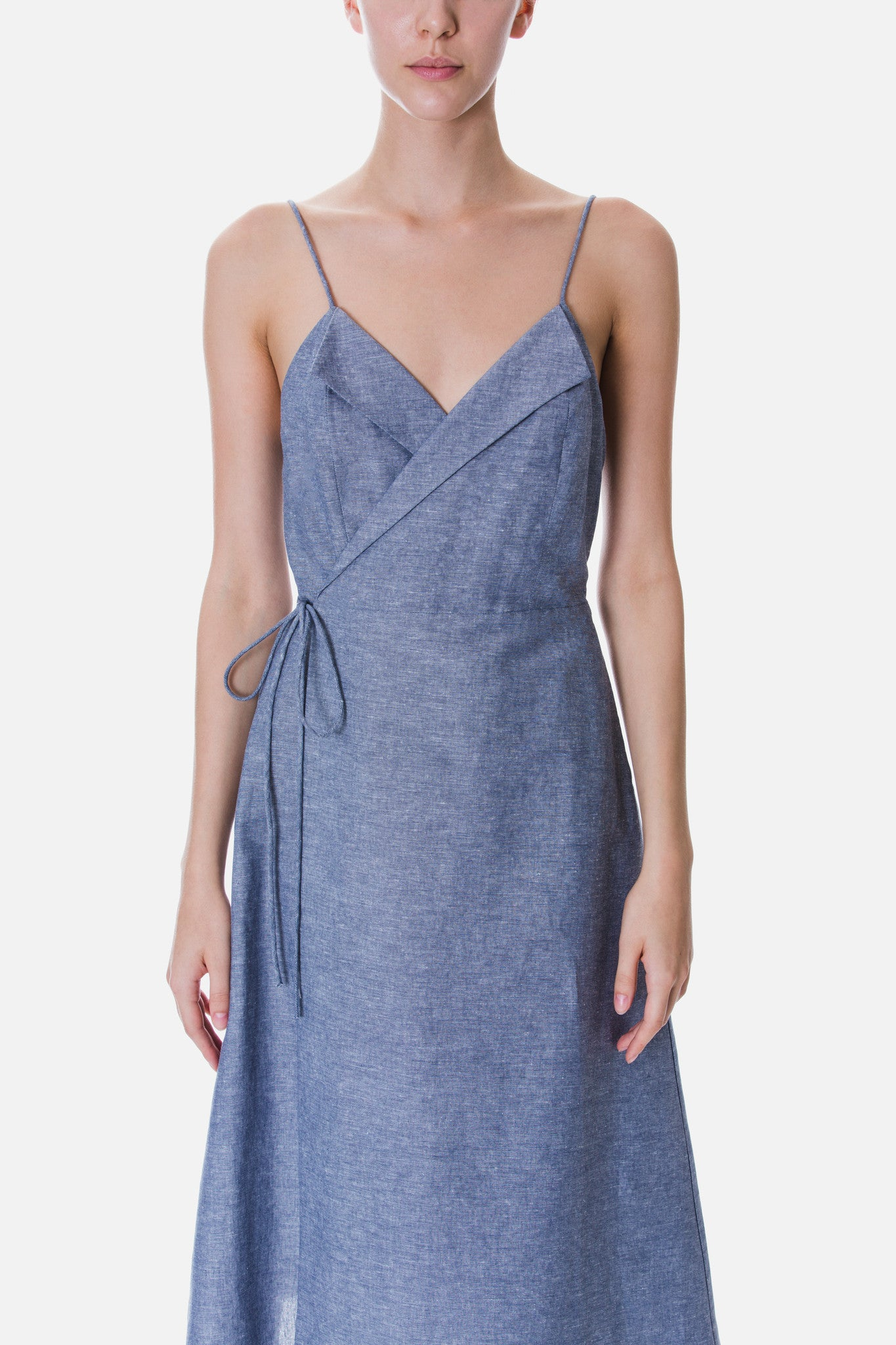LAPEL CAMISOLE WRAP DRESS