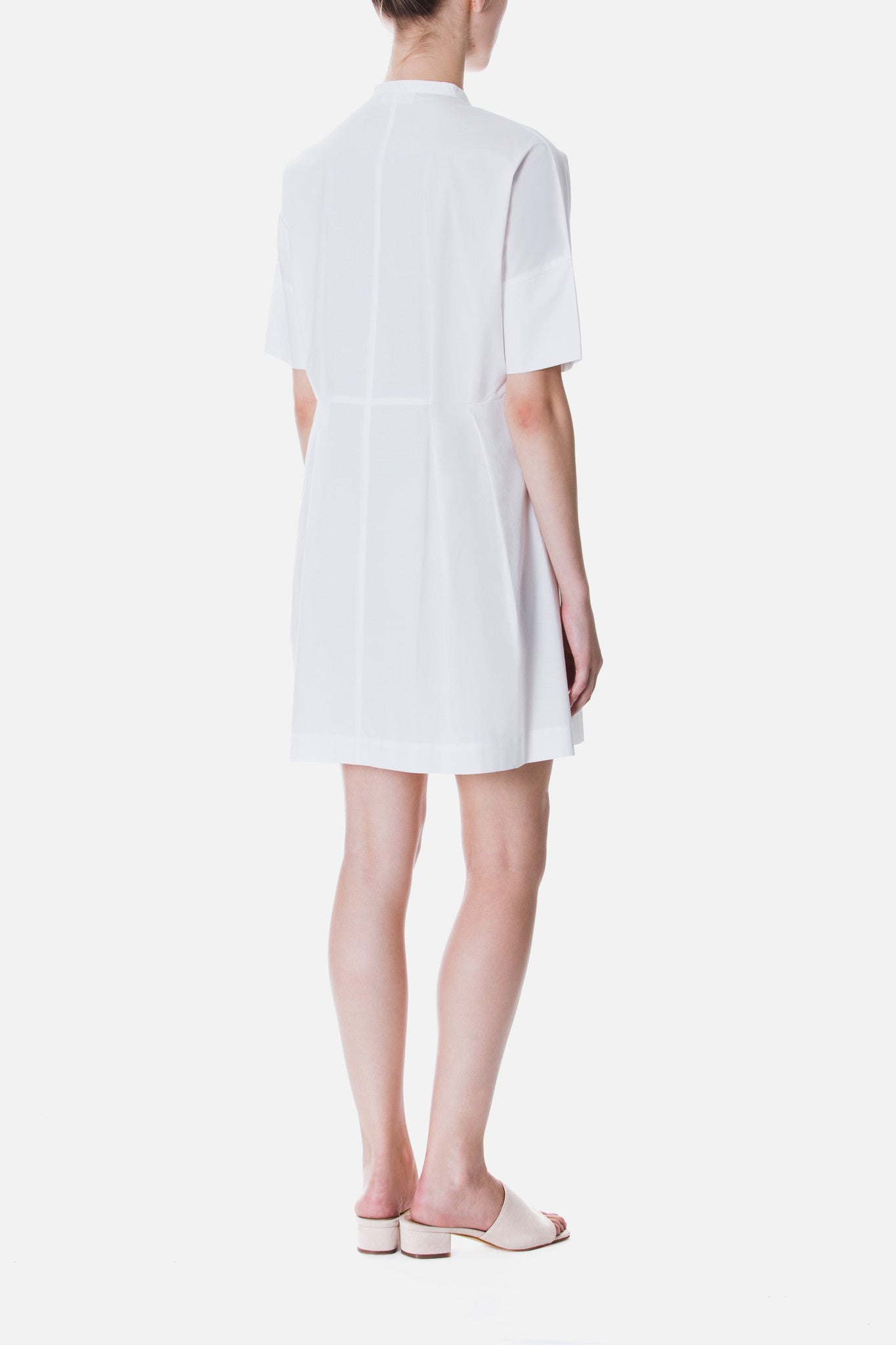 PLEATED POPLIN DRESS