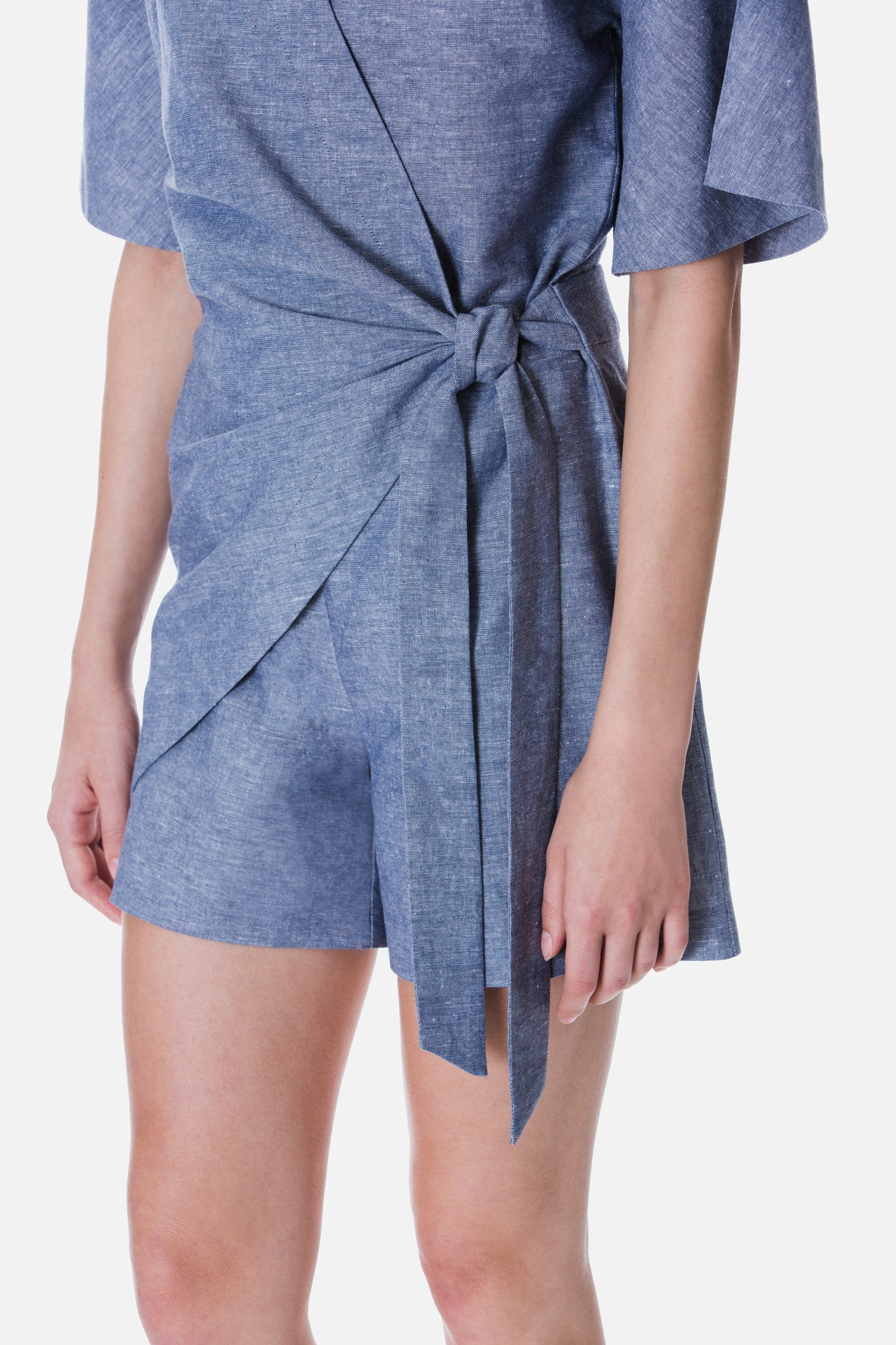LINEN PLAYSUIT WITH WRAP DETAIL