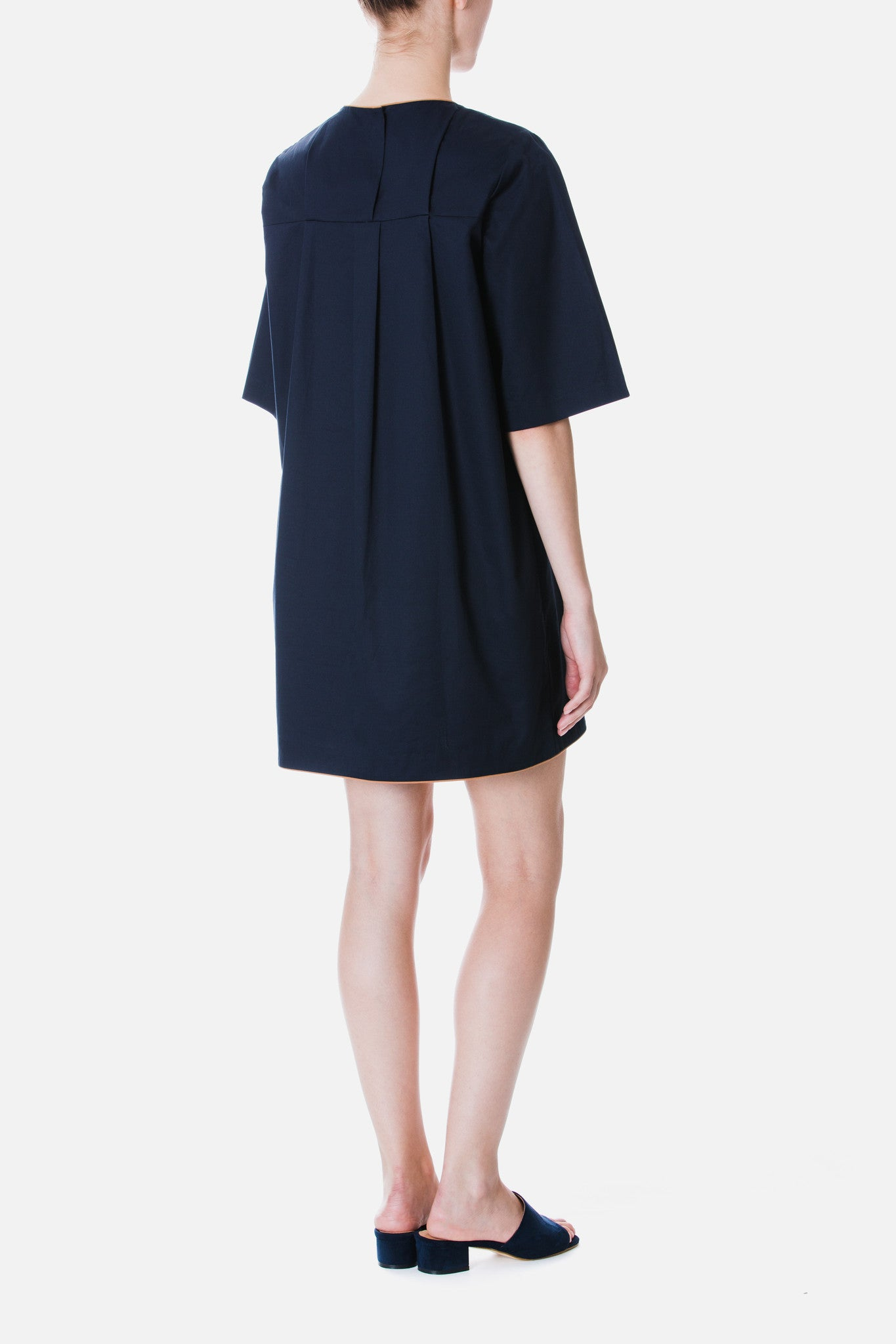 CONTRAST PIPING SHIFT DRESS