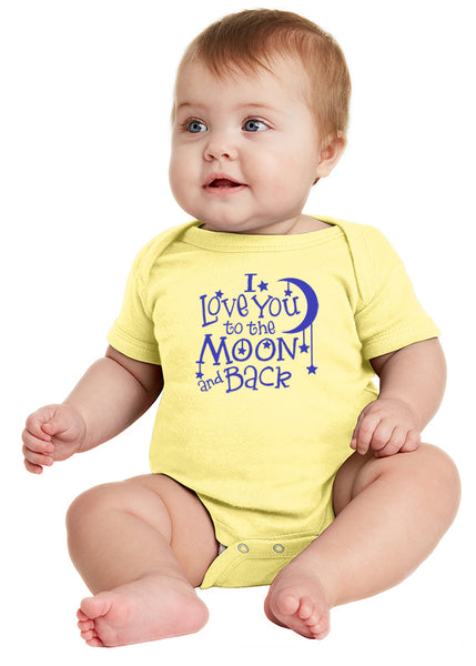 I Love You to the Moon! Infant Onesie Blue Ink