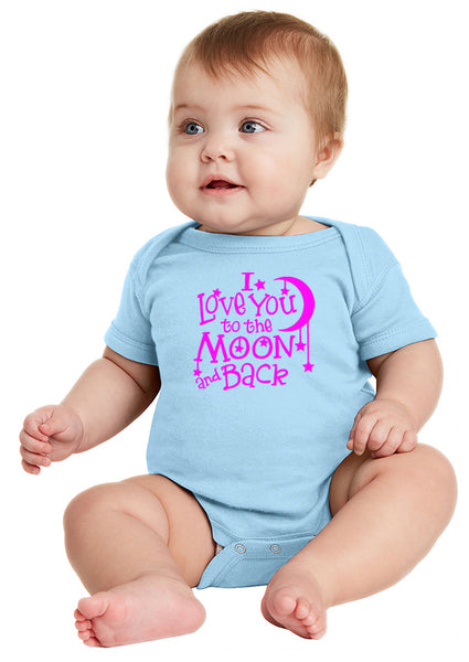I Love You to the Moon! Infant Onesie Pink Ink