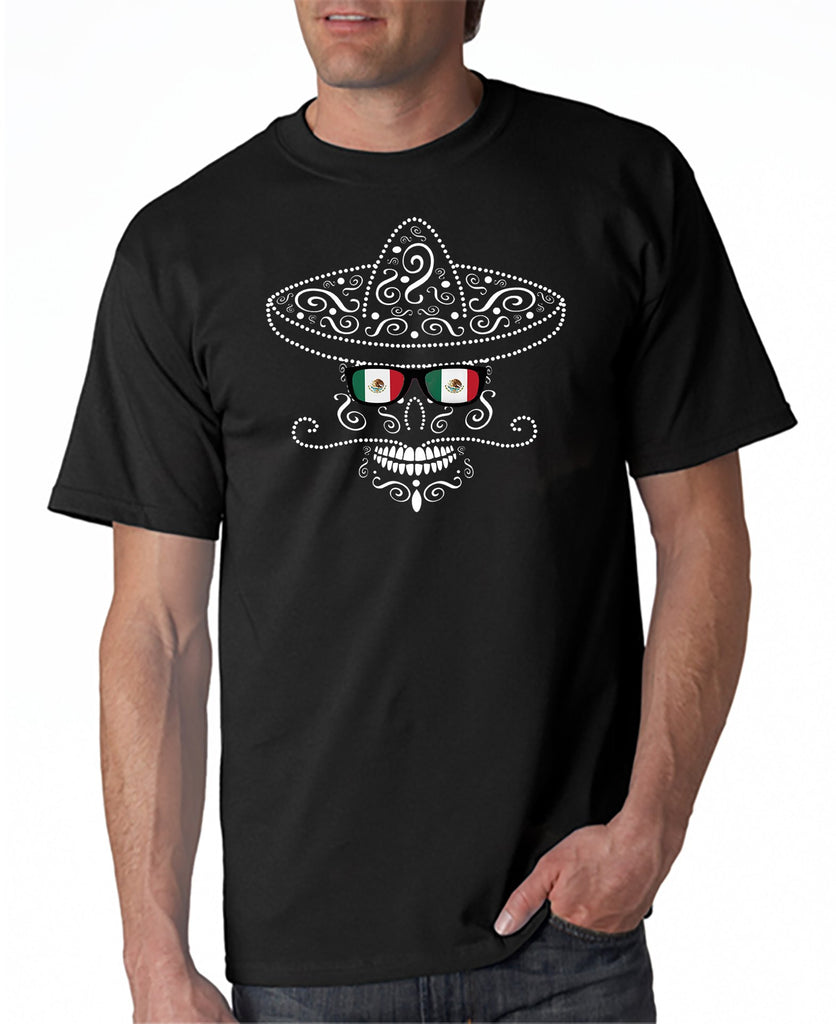 Mexican Sombrero Skull Flag Glasses T-shirt Cinco de Mayo