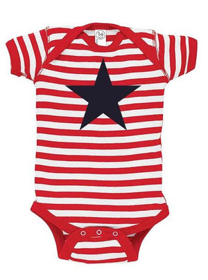 Red White and Blue Star Baby Bodysuit