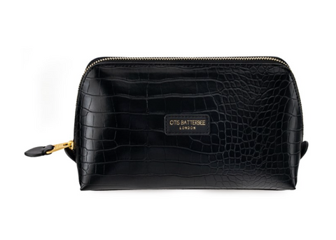 Downshire L Make Up Bag Black Croc