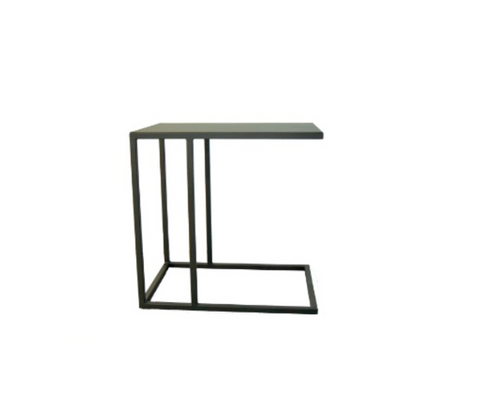 Side Table for Bench Iron Structure Matt Black With Connected Plate