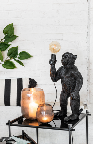 *Lamp Ape Standing Polyresin Black