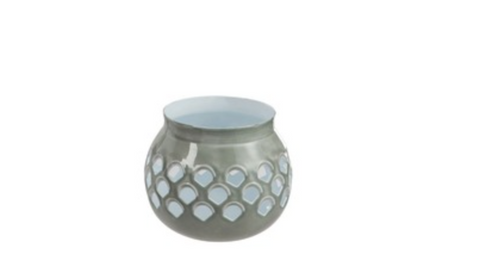 Tea-Light Holder Perforated Iron Grey/White Small
