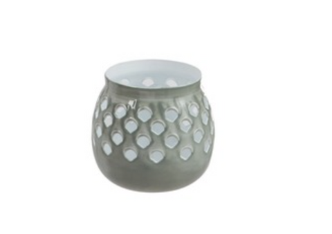 Tea-Light Holder Perforated Iron Grey/White Large