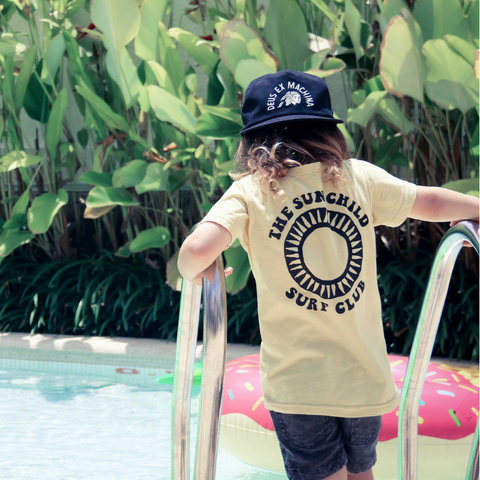Brave & Fearless - Sun Child Surfclub Yellow Wash Tee - Groms HQ
