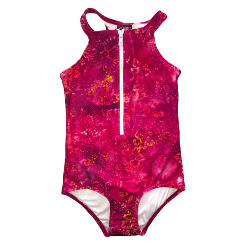 Bobbi Sunshine Swimwear - Pink Batik - Zip Front Full Piece - Groms HQ