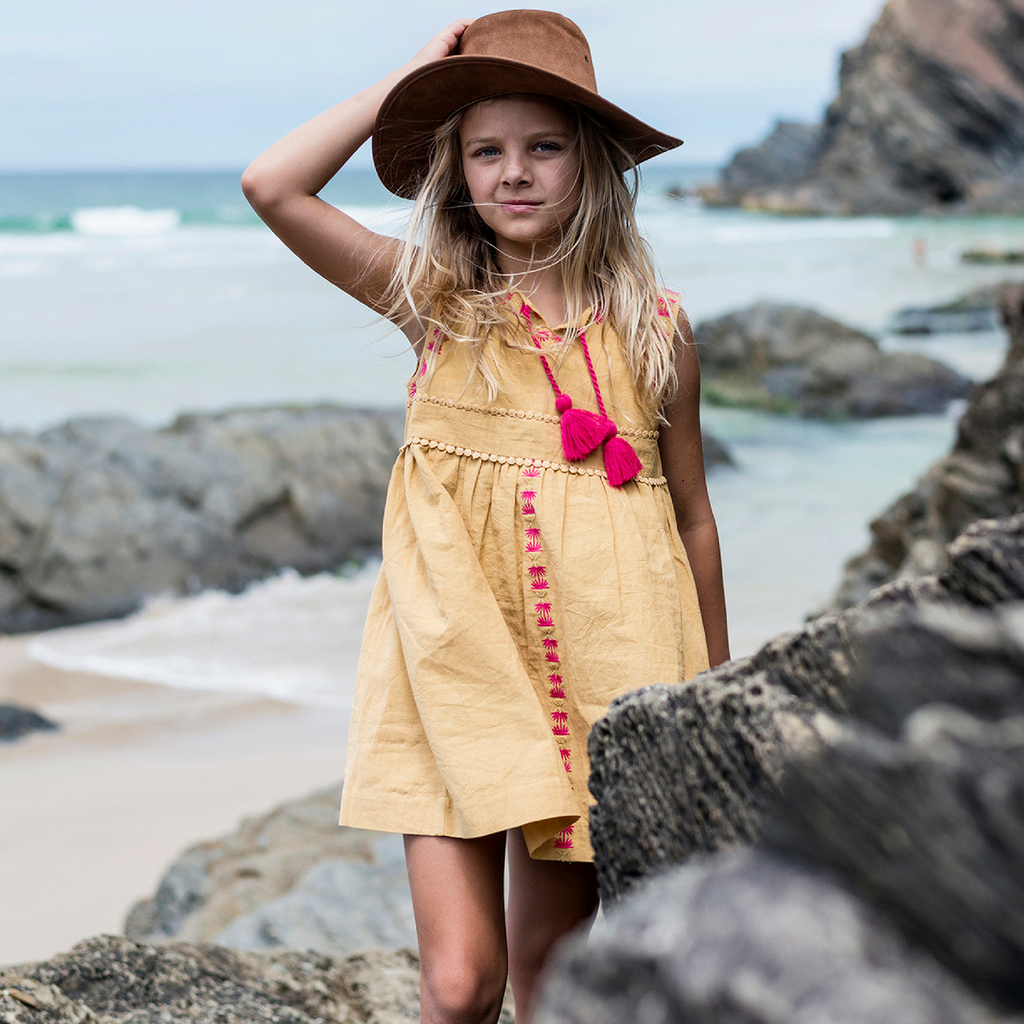 Island State Co - The Mexican Dress in Mustard - Groms HQ