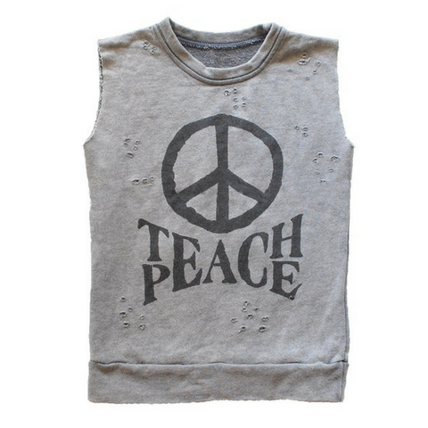 Brave & Fearless - Teach Peace Distressed Muscle Sweater - Groms HQ