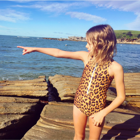 SALE - Bobbi Sunshine Swimwear - Leopard Zip Front Full Piece - Groms HQ