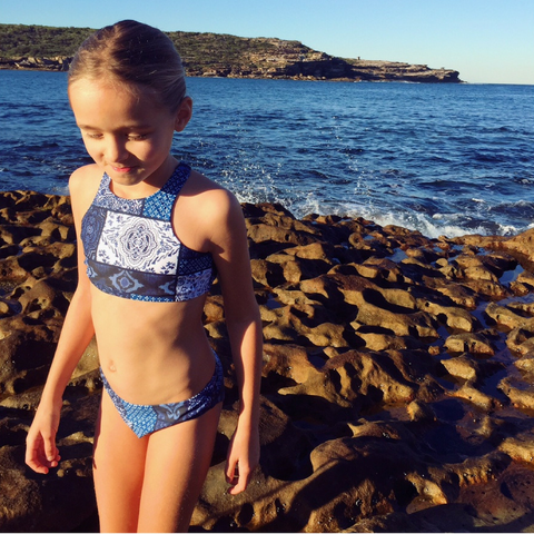 SALE - Bobbi Sunshine Swimwear - Blue Patchwork Crop Bikini Set - Groms HQ