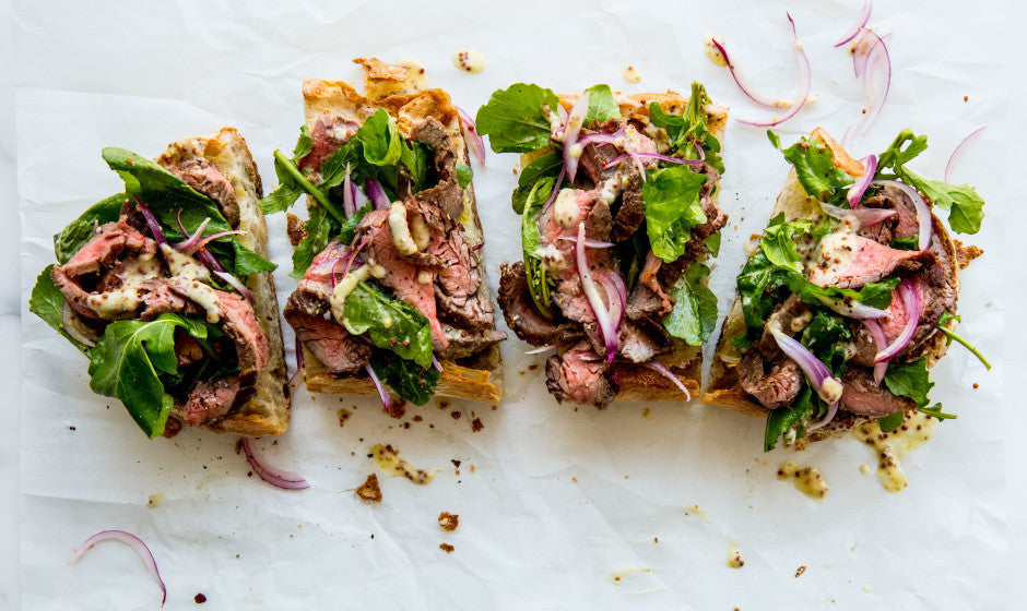 Open-Face Steak Sandwich with Parmesan Dressing